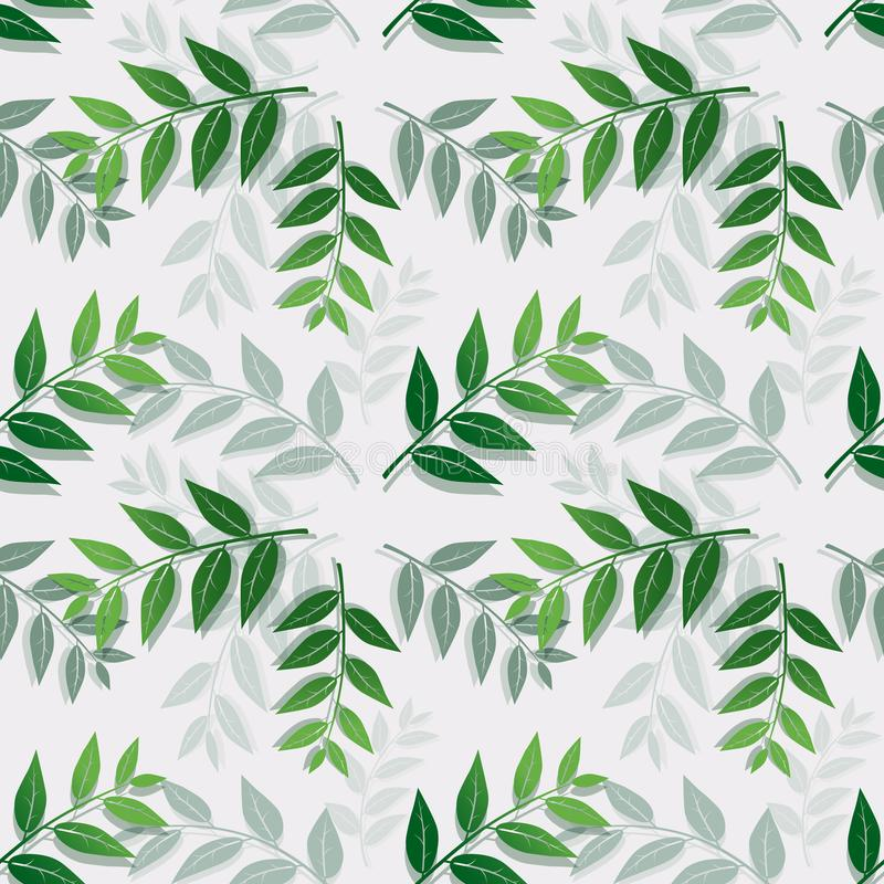在白色背景的热带叶子孤立,纺织品的无缝的重复样式,织品、盖子、印刷品或者包装纸 向量例证