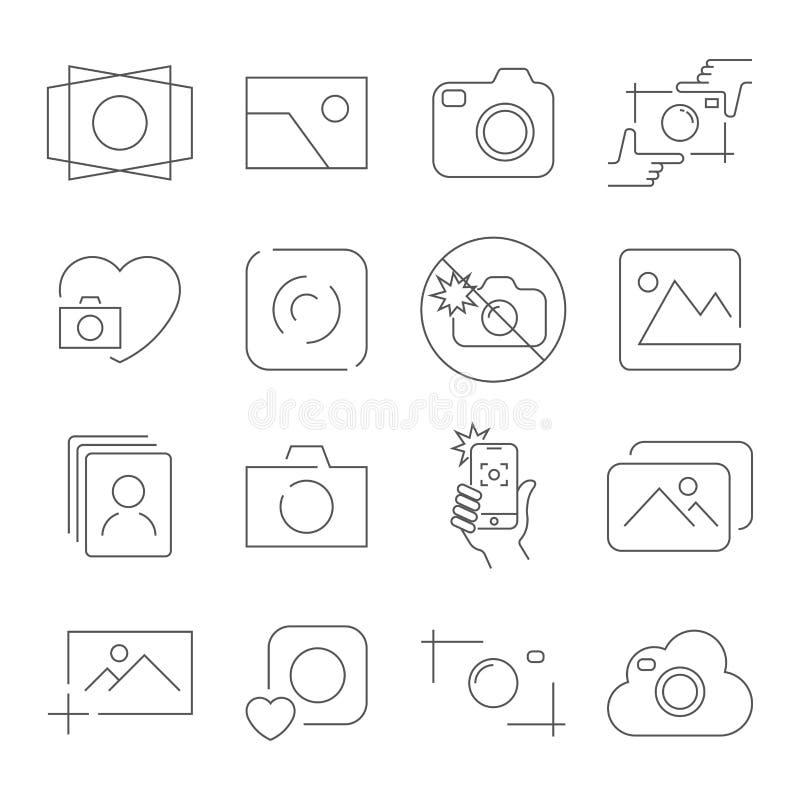 在白色背景的照相机象 包含例如没有闪光、照相机焦点、照片,照相机和其他 r 向量例证