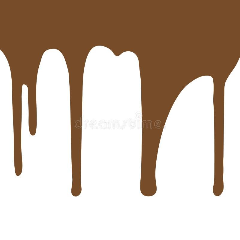 在白色背景的熔化的巧克力水滴 皇族释放例证