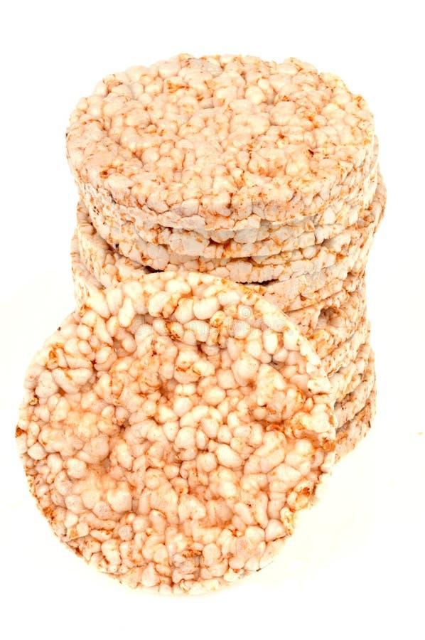 在白色背景的爆米花米糕 免版税库存图片