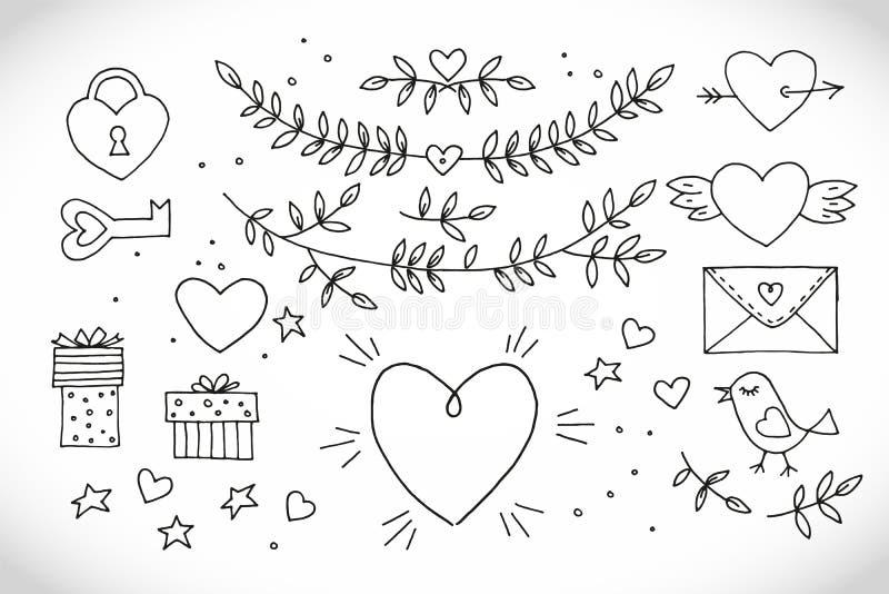 在白色背景的爱装饰葡萄酒元素 与心脏,翼,与叶子的分支,鸟的手拉的收藏 皇族释放例证