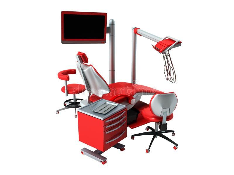 在白色背景的牙齿椅子3d没有阴影 库存例证