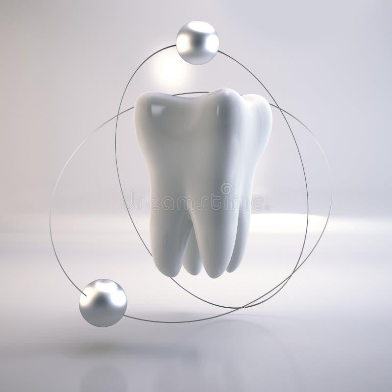 在白色背景的牙 库存例证