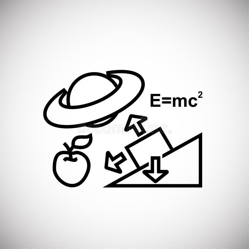 在白色背景的物理科学稀薄的线 库存例证