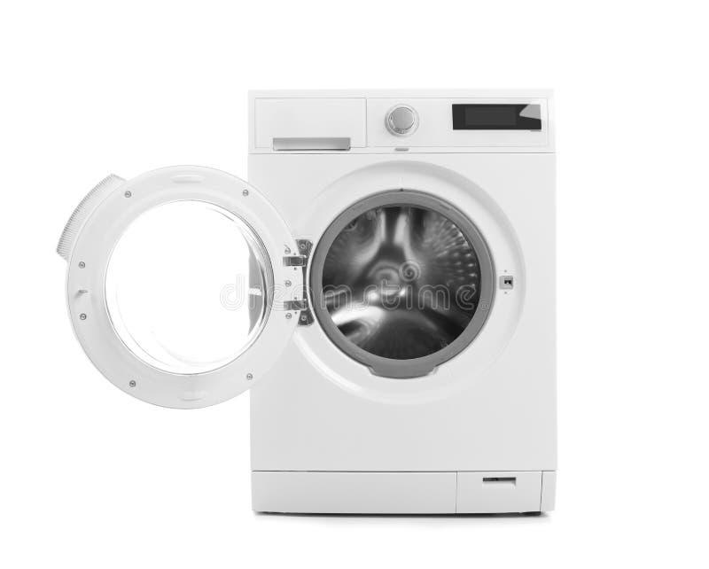 在白色背景的现代洗衣机 图库摄影