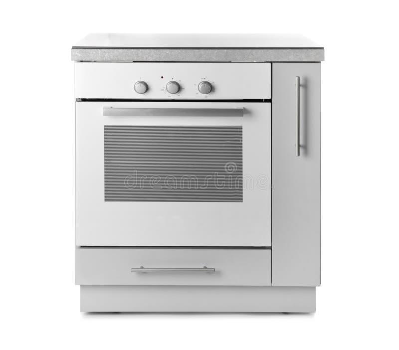 在白色背景的现代电烤箱 库存图片