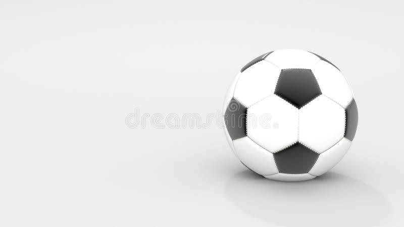 在白色背景的现实经典皮革足球 体育和活动概念 r 空白和拷贝 库存照片