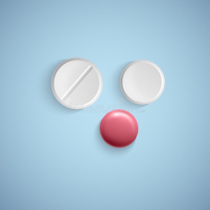 在白色背景的现实药片,医疗产品,现实传染媒介 白色片剂,传染媒介例证 库存例证