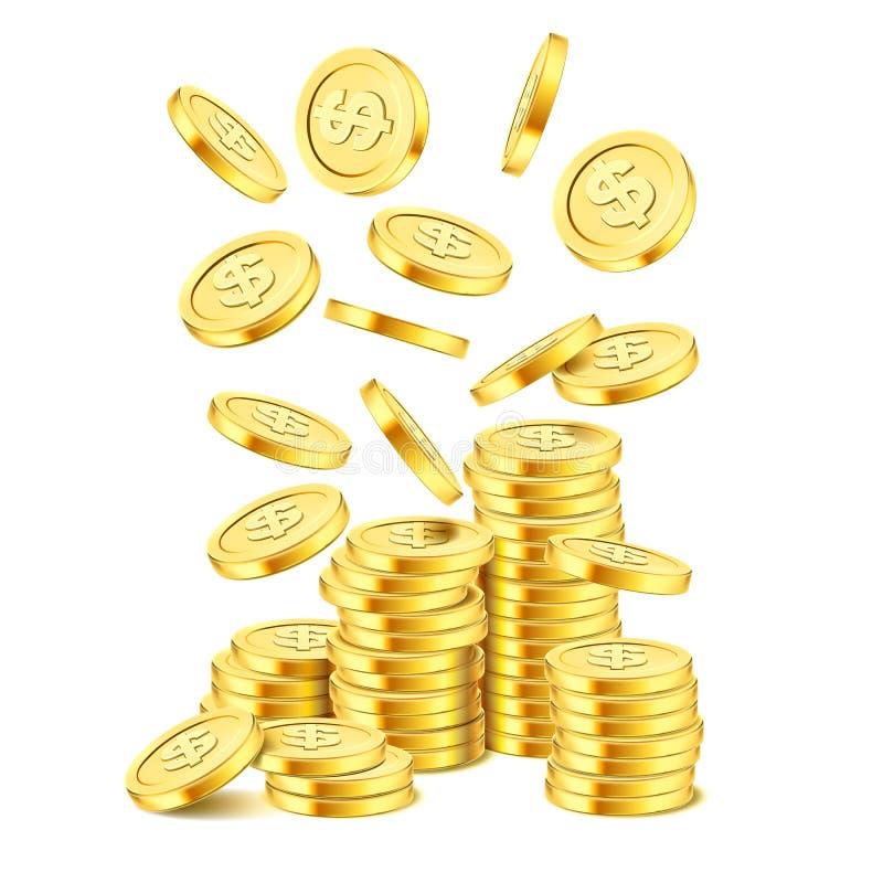 在白色背景的现实金币堆 铸造栾树 在堆的落的金钱 宾果游戏困境或赌博娱乐场 库存例证