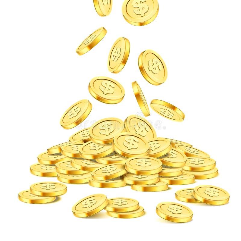 在白色背景的现实金币堆 铸造栾树 在堆的落的金钱 宾果游戏困境或赌博娱乐场 皇族释放例证