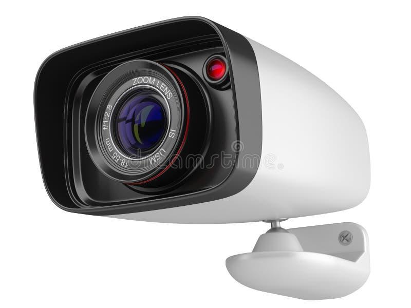 在白色背景的现代安全监控相机 3d柜栏图象牌照 向量例证