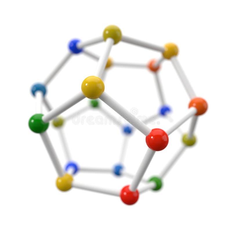 在白色背景的球状分子模型 3d例证 库存例证