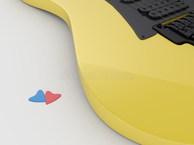 在白色背景的电吉他。 库存图片