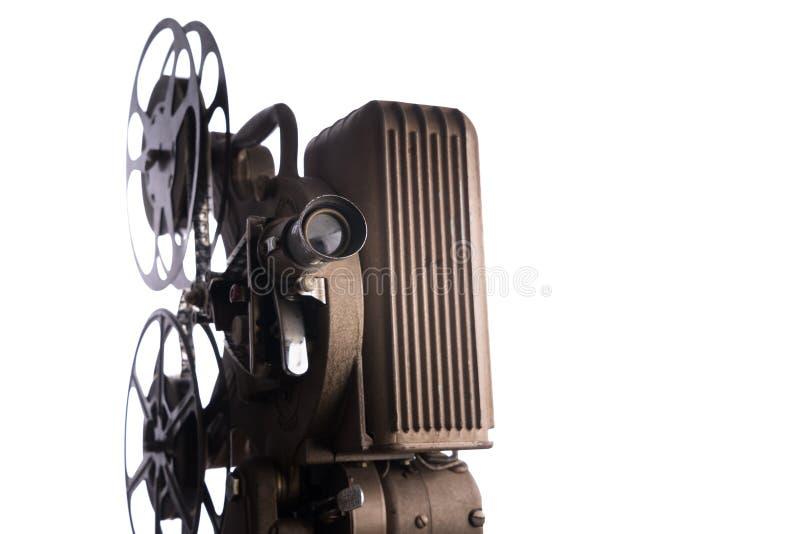 在白色背景的电影放映机 库存图片