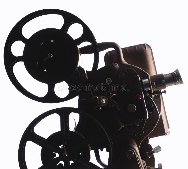 在白色背景的电影放映机 库存照片
