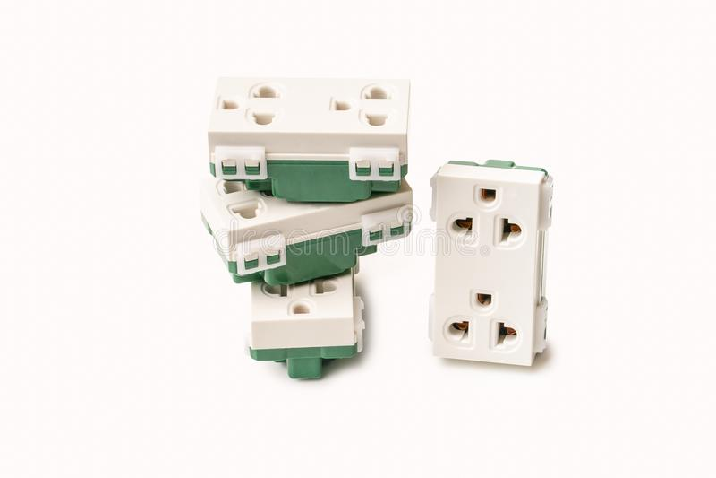 在白色背景的电能插口, 库存图片