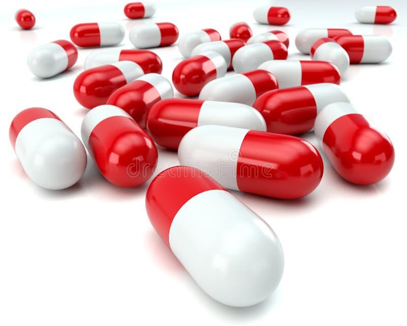 在白色背景的疏散红色和白色药片 皇族释放例证