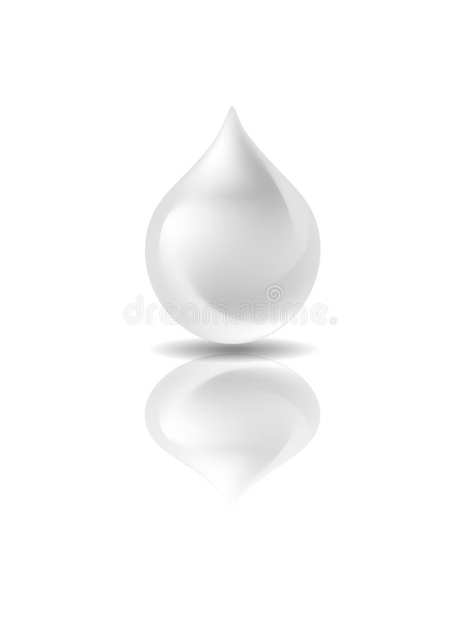 在白色背景的白色下落 3D,孤立 胶凝体或奶油 向量例证