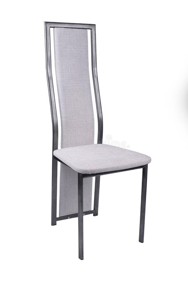 在白色背景的白色乙烯基凳子椅子与道路一起使用 免版税库存照片