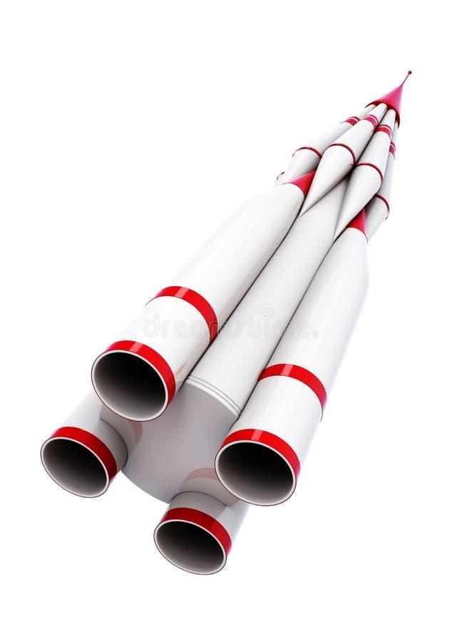 在白色背景的白色火箭 3d翻译 库存例证