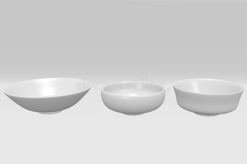 在白色背景的白色球形碗 图库摄影