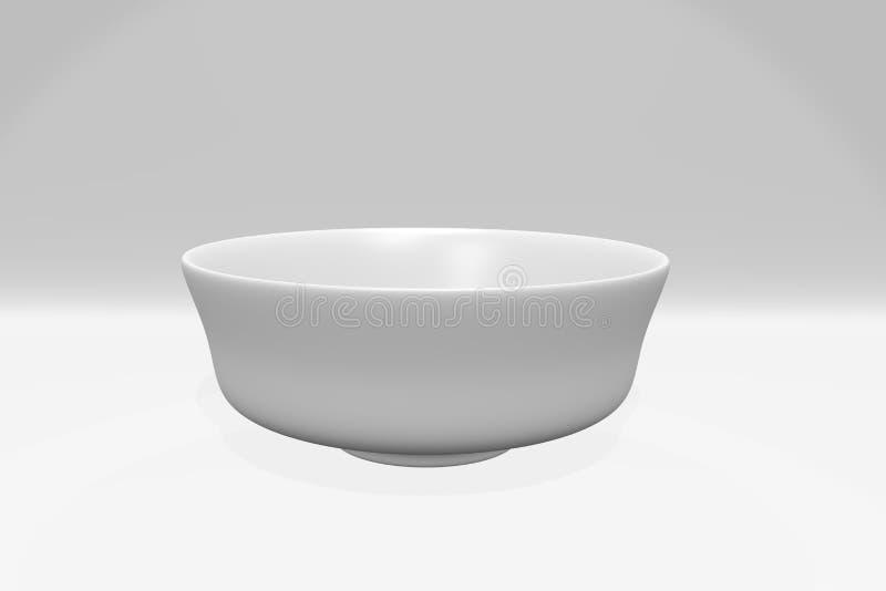 在白色背景的白色球形碗 库存图片