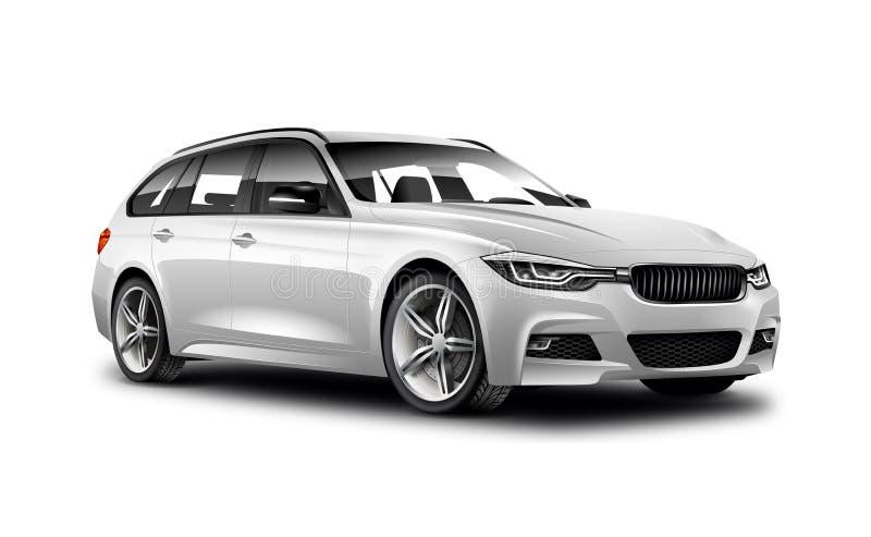 在白色背景的白色金属普通普遍汽车与被隔绝的道路 库存例证