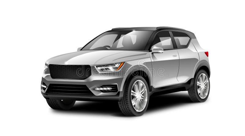 在白色背景的白色金属普通SUV汽车与被隔绝的道路 库存例证