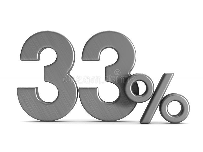 在白色背景的百分之三十三 被隔绝的3d illustrati 库存例证