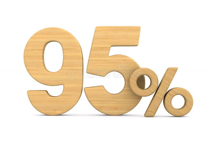在白色背景的百分之九十五 被隔绝的3D illustratio 向量例证