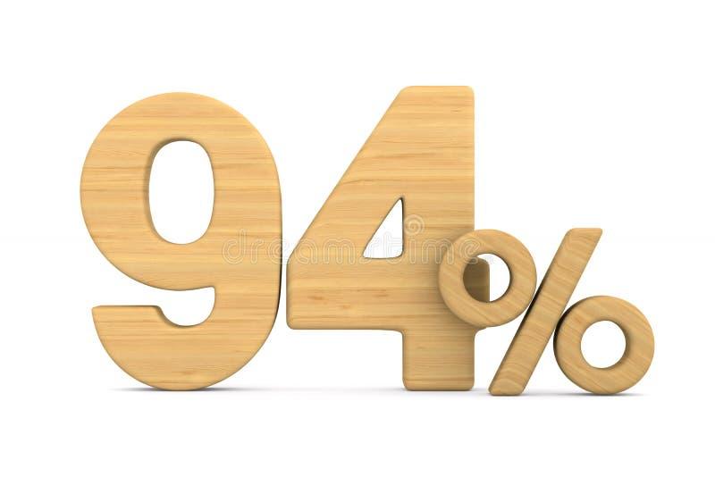 在白色背景的百分之九十四 被隔绝的3D illustratio 库存例证