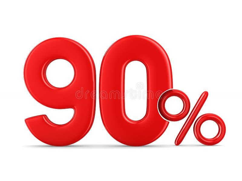 在白色背景的百分之九十 被隔绝的3d例证 皇族释放例证