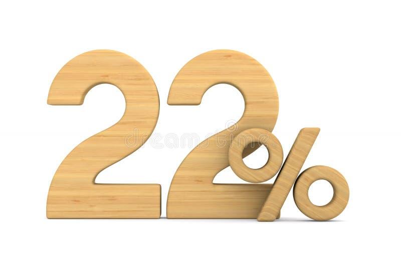 在白色背景的百分之二十二 被隔绝的3d例证 向量例证