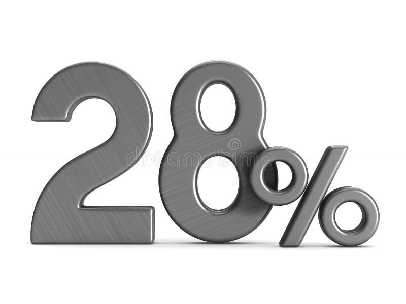 在白色背景的百分之二十八 被隔绝的3d illustrati 皇族释放例证