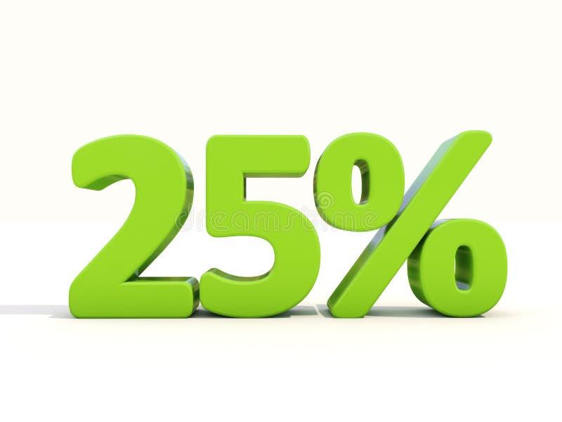25%在白色背景的百分率象 库存照片