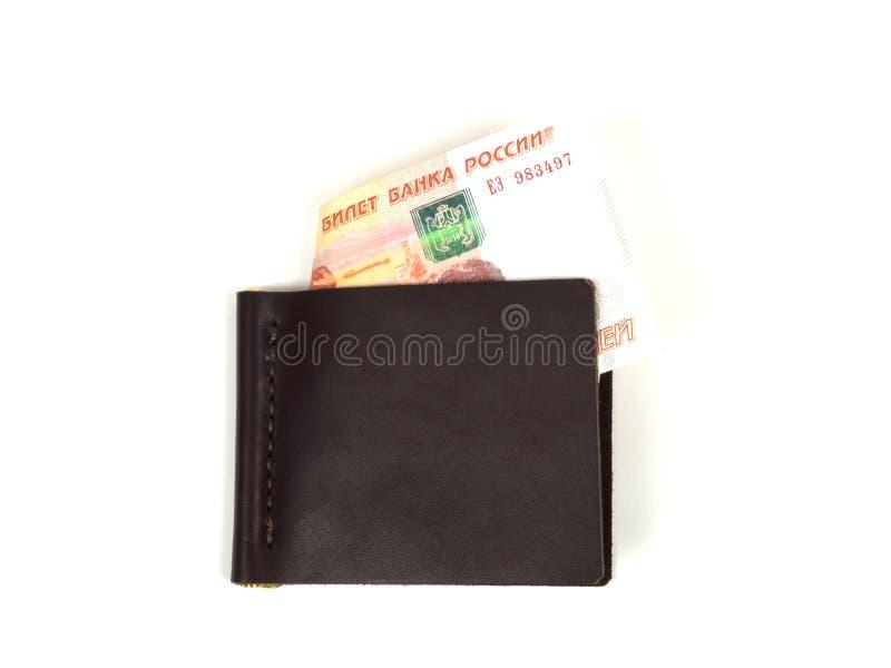 在白色背景的皮革金钱夹子 免版税图库摄影