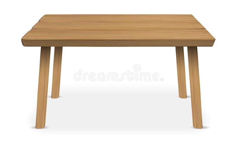 在白色背景的真正的木桌 库存例证