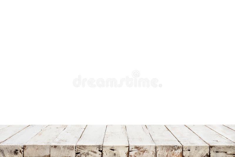 在白色背景的真正的白色木台式纹理 图库摄影