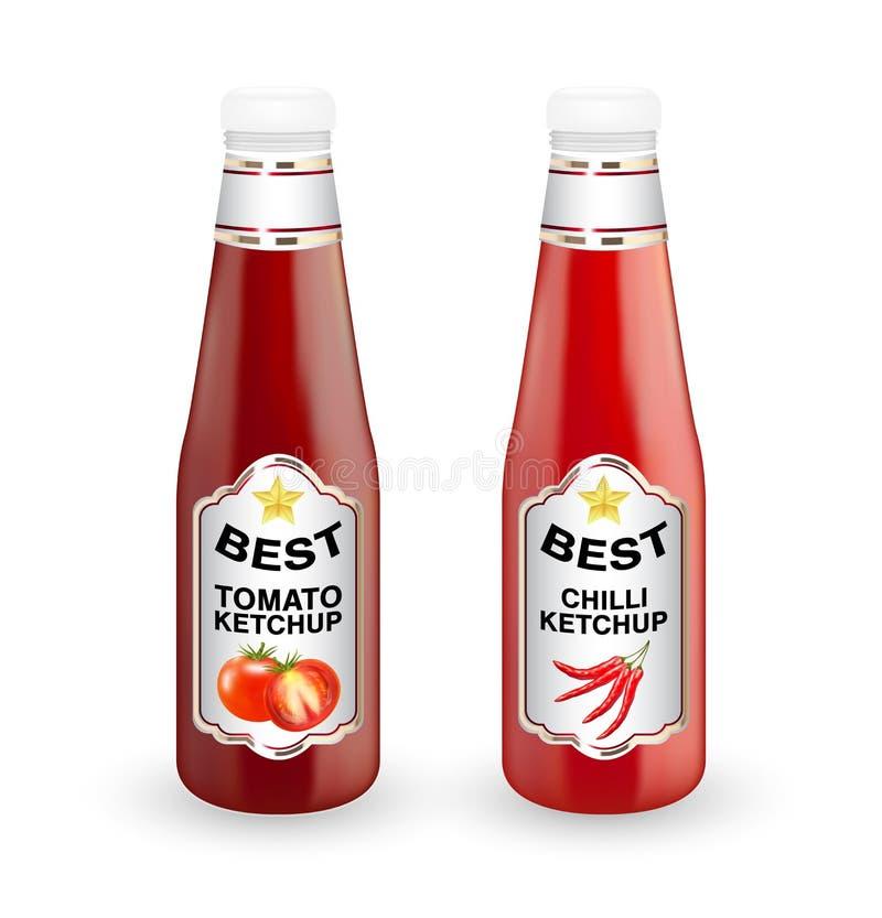在白色背景的真正的蕃茄和辣椒蕃茄酱瓶子 库存例证
