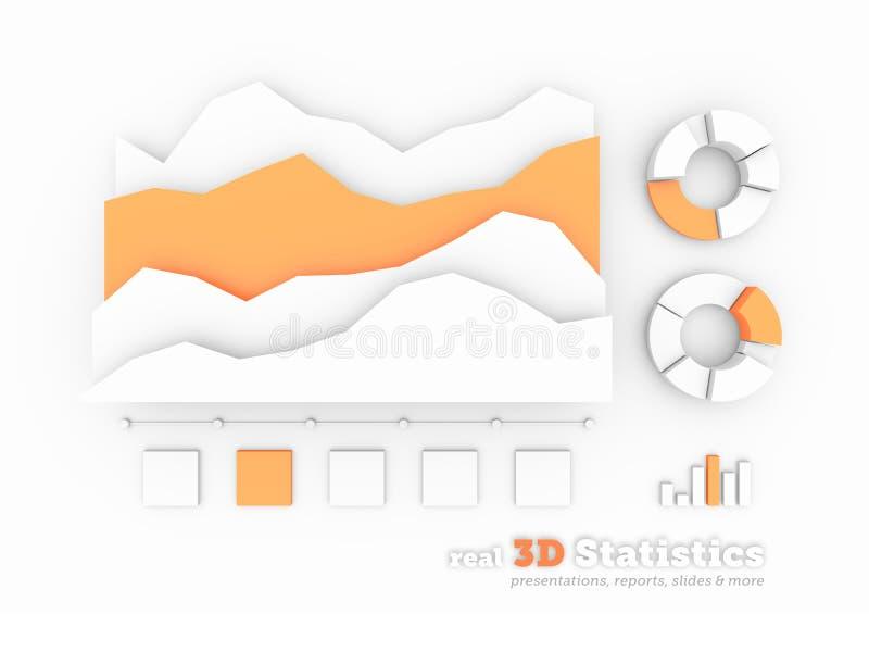 在白色背景的真正的3D统计形状 皇族释放例证