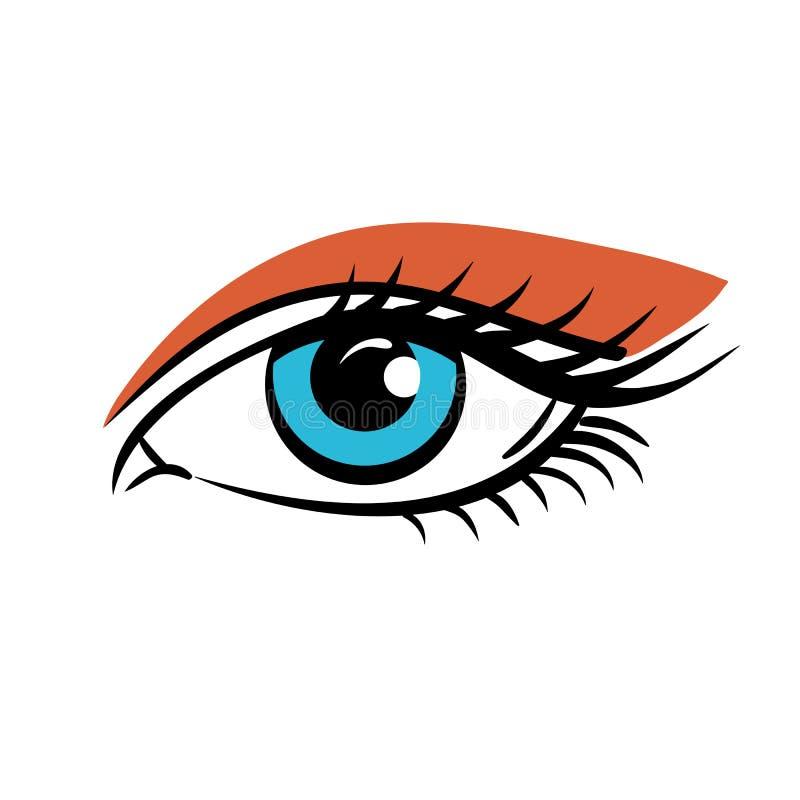 在白色背景的眼睛 注视艺术 美丽的蓝眼睛妇女年轻人 眼睛商标 注视艺术 皇族释放例证