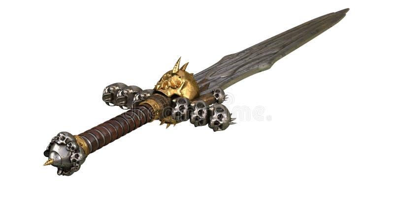 在白色背景的短桨中世纪剑 3d例证 皇族释放例证