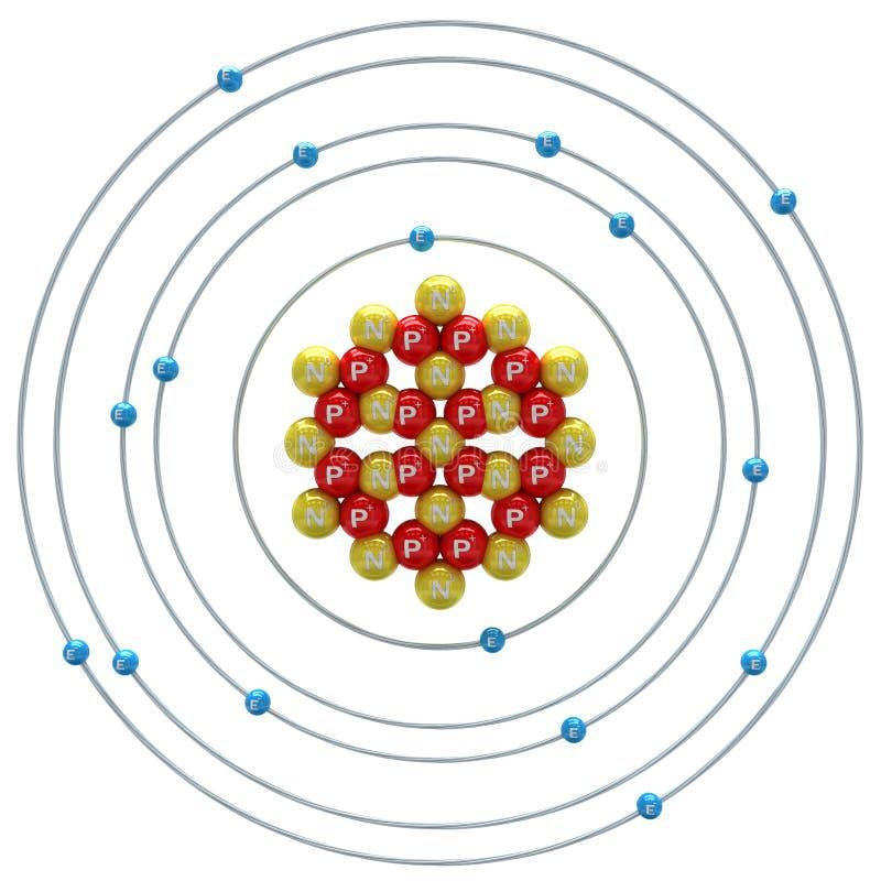 在白色背景的硫磺(同位素)原子 库存例证