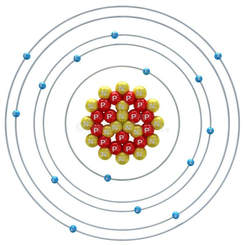 在白色背景的磷(同位素)原子 皇族释放例证