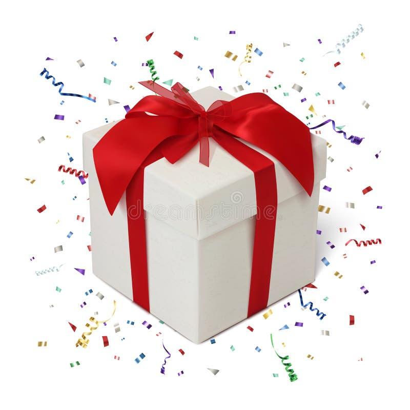 Download 在白色背景的礼物盒与五彩纸屑 向量例证. 插画 包括有 程序包, 例证, 狂欢节, 邀请, 豪华, 包装 - 62534888