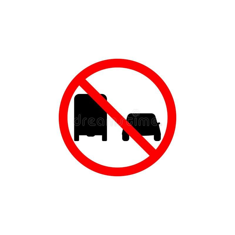 在白色背景的禁止的通行证卡车象可以为网,商标,流动应用程序,UI UX使用 皇族释放例证
