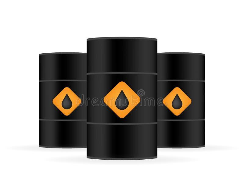 在白色背景的空白现实黑油桶 t 库存例证