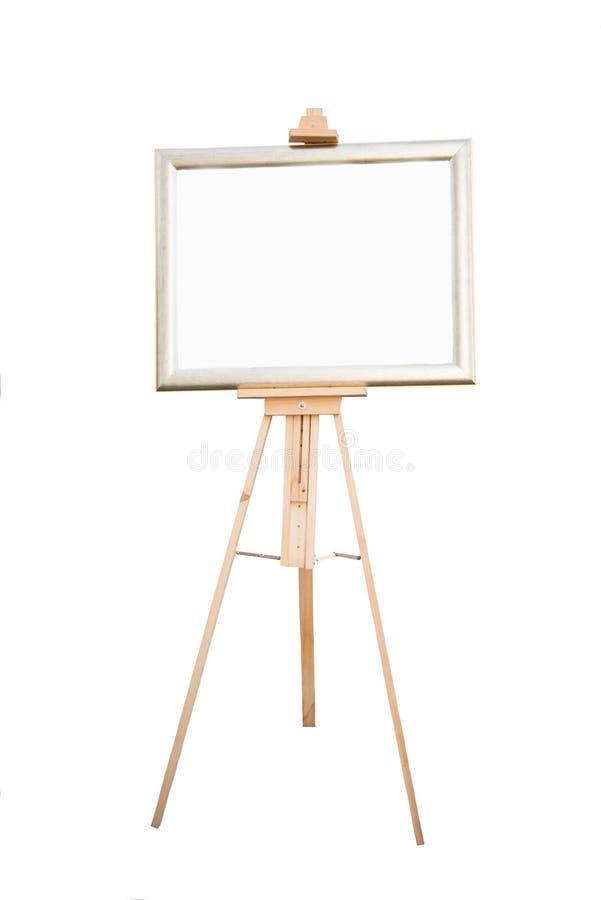 在白色背景的空白的木标志 免版税库存照片