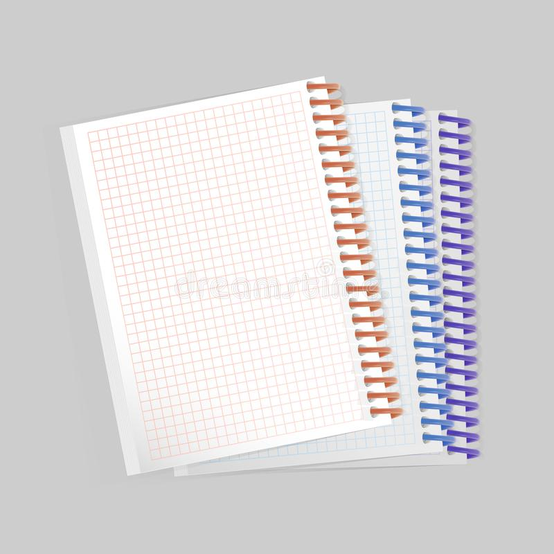 在白色背景的空白的现实螺旋笔记薄笔记本 为您的词条,传染媒介eps 10显示假装  库存例证
