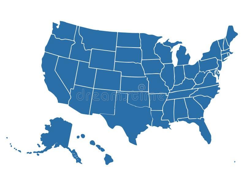 在白色背景的空白的相似的美国地图 美利坚合众国国家 网站的传染媒介模板